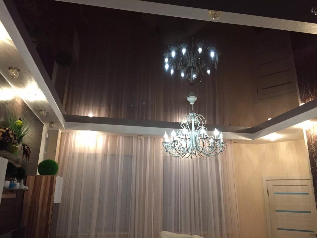Зеркальные натяжные потолки 8