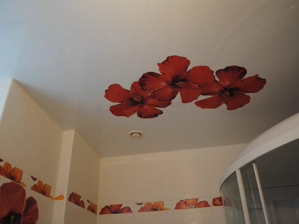 Натяжные потолки в ванную 9