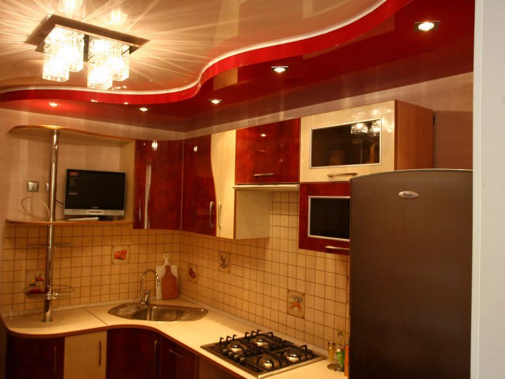 Натяжные потолки на кухню 11